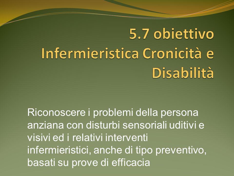 Riconoscere i problemi della persona anziana con disturbi sensoriali uditivi e visivi ed i relativi interventi infermieristici, anche di tipo preventi