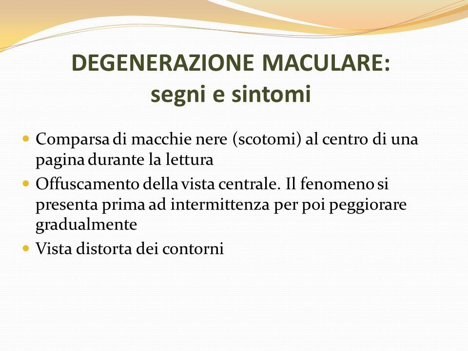 DEGENERAZIONE MACULARE: segni e sintomi Comparsa di macchie nere (scotomi) al centro di una pagina durante la lettura Offuscamento della vista central