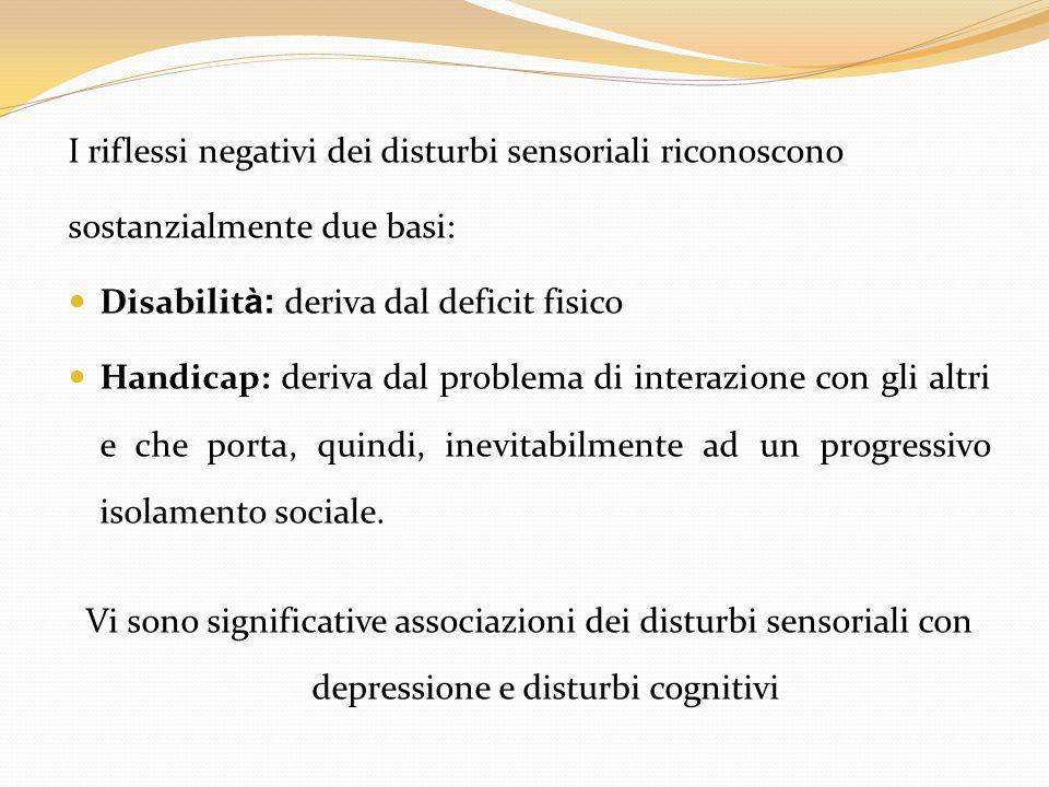 I riflessi negativi dei disturbi sensoriali riconoscono sostanzialmente due basi: Disabilit à: deriva dal deficit fisico Handicap: deriva dal problema