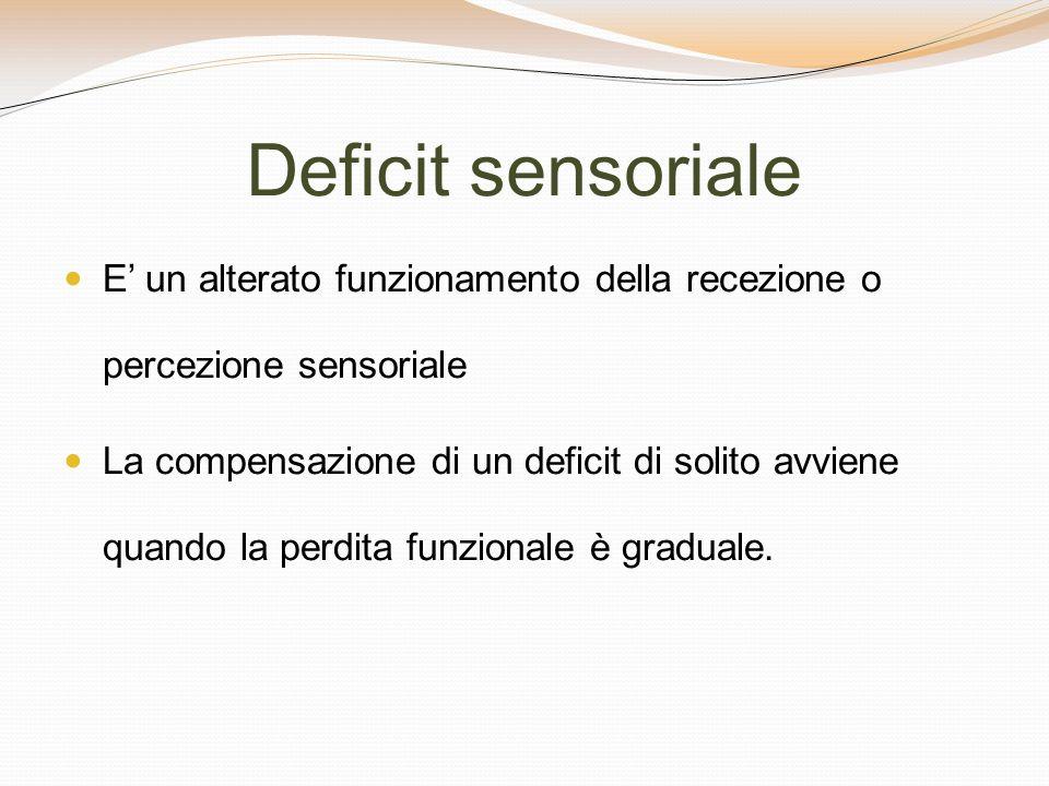 Deficit sensoriale E un alterato funzionamento della recezione o percezione sensoriale La compensazione di un deficit di solito avviene quando la perd