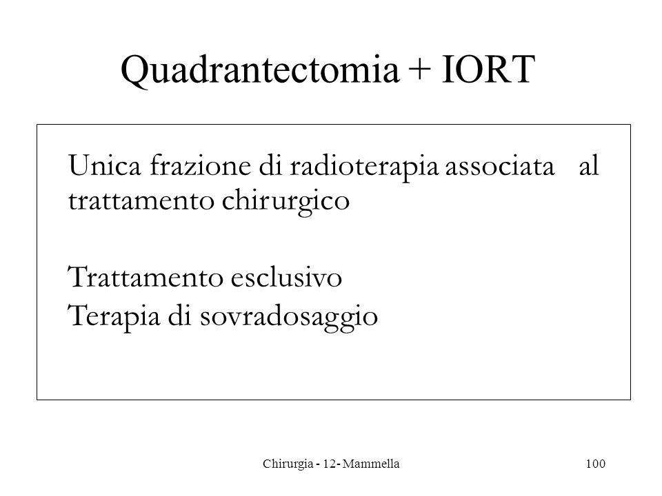 Quadrantectomia + IORT Unica frazione di radioterapia associata al trattamento chirurgico Trattamento esclusivo Terapia di sovradosaggio 100Chirurgia