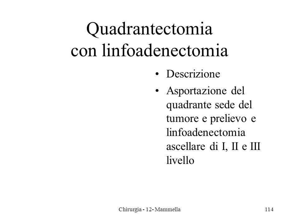 Quadrantectomia con linfoadenectomia Descrizione Asportazione del quadrante sede del tumore e prelievo e linfoadenectomia ascellare di I, II e III liv