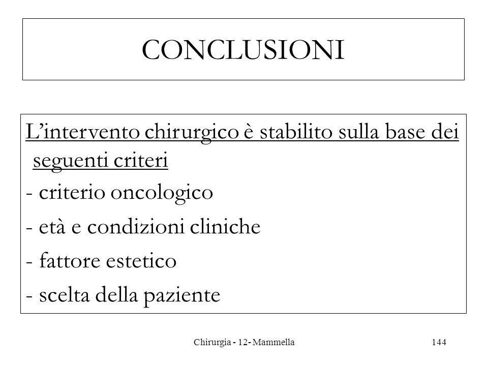 CONCLUSIONI Lintervento chirurgico è stabilito sulla base dei seguenti criteri - criterio oncologico - età e condizioni cliniche - fattore estetico -