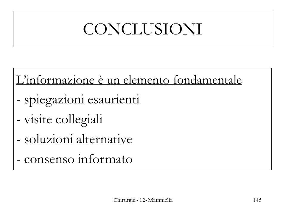 Linformazione è un elemento fondamentale - spiegazioni esaurienti - visite collegiali - soluzioni alternative - consenso informato CONCLUSIONI 145Chir