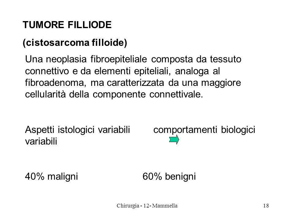 TUMORE FILLIODE (cistosarcoma filloide) Una neoplasia fibroepiteliale composta da tessuto connettivo e da elementi epiteliali, analoga al fibroadenoma
