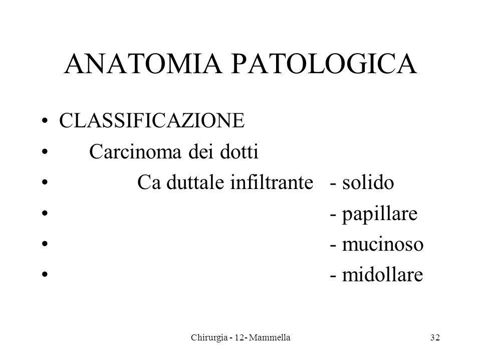 ANATOMIA PATOLOGICA CLASSIFICAZIONE Carcinoma dei dotti Ca duttale infiltrante- solido - papillare - mucinoso - midollare 32Chirurgia - 12- Mammella