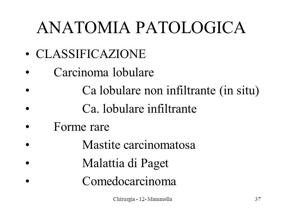 ANATOMIA PATOLOGICA CLASSIFICAZIONE Carcinoma lobulare Ca lobulare non infiltrante (in situ) Ca. lobulare infiltrante Forme rare Mastite carcinomatosa