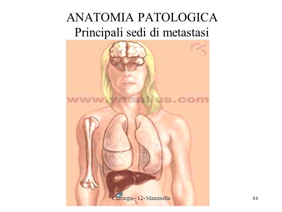 ANATOMIA PATOLOGICA Principali sedi di metastasi 44Chirurgia - 12- Mammella