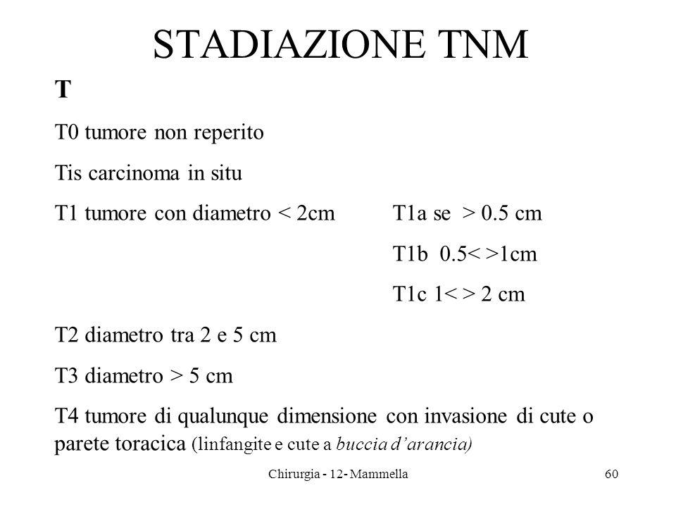 STADIAZIONE TNM T T0 tumore non reperito Tis carcinoma in situ T1 tumore con diametro 0.5 cm T1b 0.5 1cm T1c 1 2 cm T2 diametro tra 2 e 5 cm T3 diamet