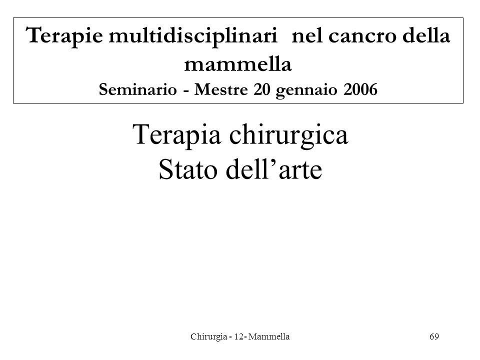 Terapia chirurgica Stato dellarte Terapie multidisciplinari nel cancro della mammella Seminario - Mestre 20 gennaio 2006 69Chirurgia - 12- Mammella
