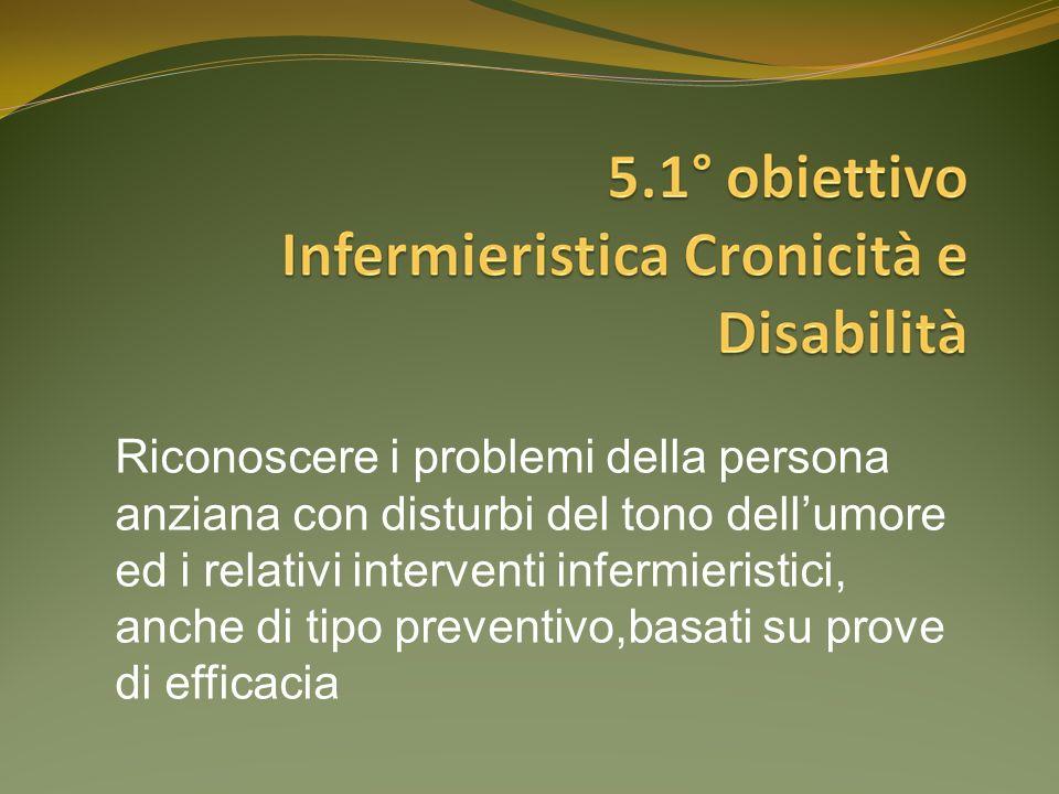 Riconoscere i problemi della persona anziana con disturbi del tono dellumore ed i relativi interventi infermieristici, anche di tipo preventivo,basati