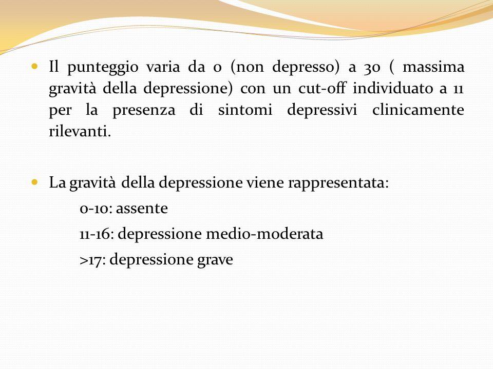Il punteggio varia da 0 (non depresso) a 30 ( massima gravità della depressione) con un cut-off individuato a 11 per la presenza di sintomi depressivi