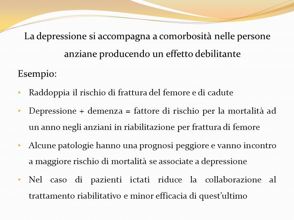 La depressione si accompagna a comorbosità nelle persone anziane producendo un effetto debilitante Esempio: Raddoppia il rischio di frattura del femor