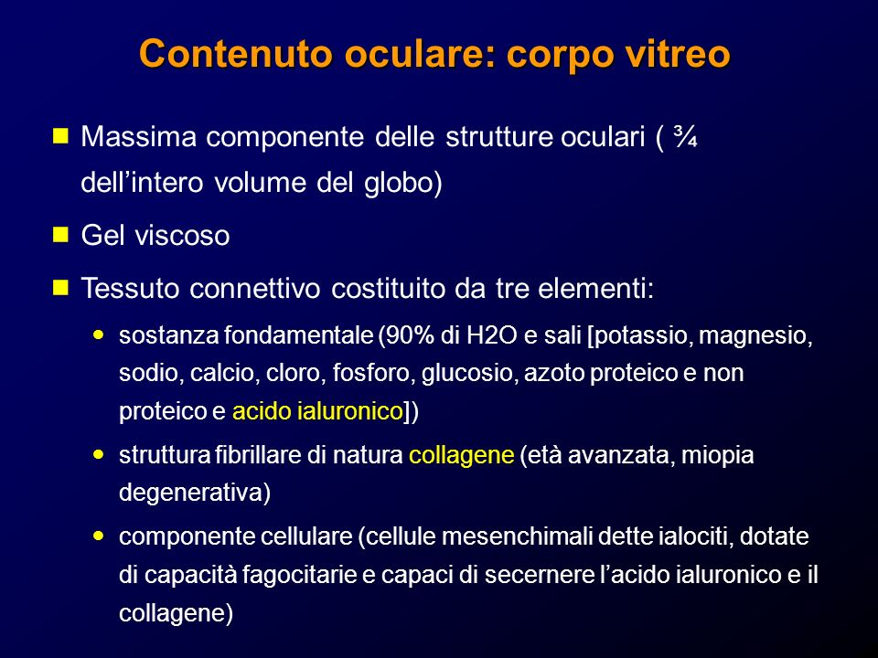 Contenuto oculare: corpo vitreo Massima componente delle strutture oculari ( ¾ dellintero volume del globo) Gel viscoso Tessuto connettivo costituito