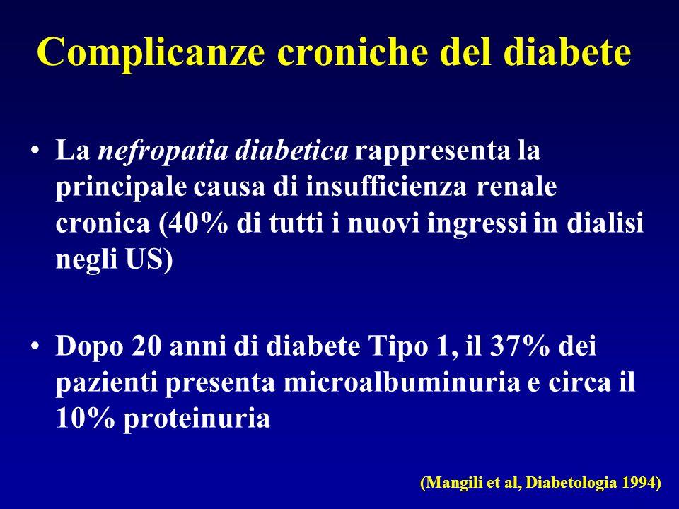 Complicanze croniche del diabete La nefropatia diabetica rappresenta la principale causa di insufficienza renale cronica (40% di tutti i nuovi ingress