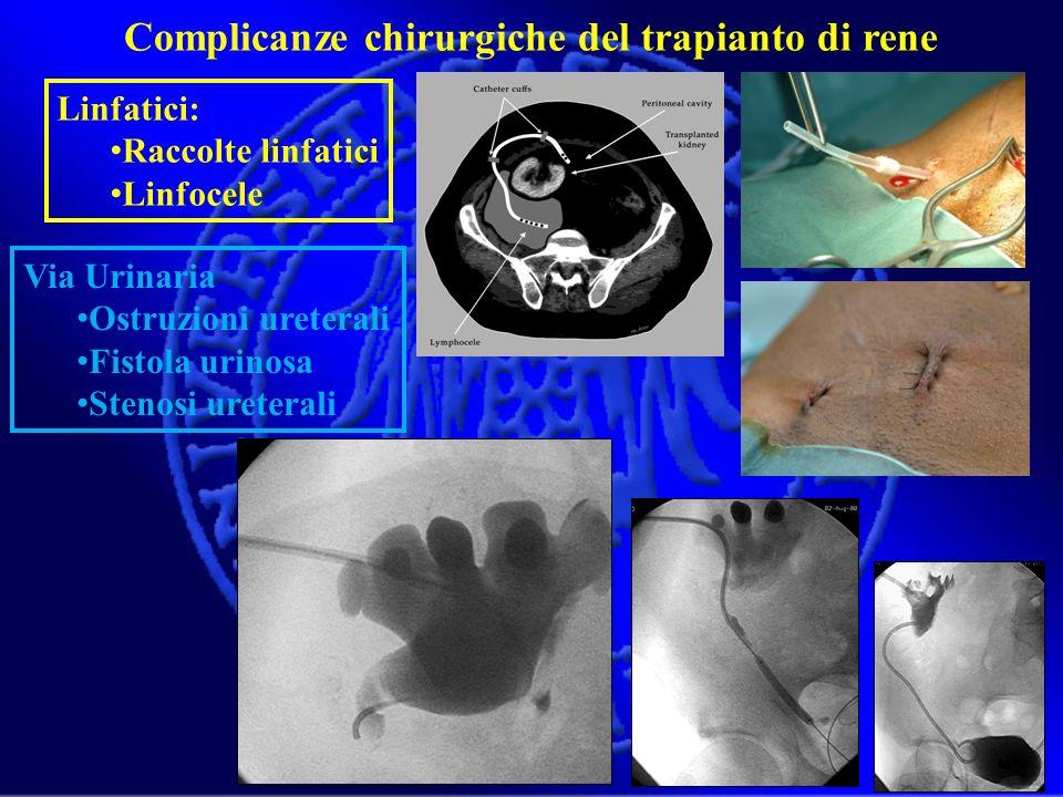 Linfatici: Raccolte linfatici Linfocele Complicanze chirurgiche del trapianto di rene Via Urinaria Ostruzioni ureterali Fistola urinosa Stenosi ureter