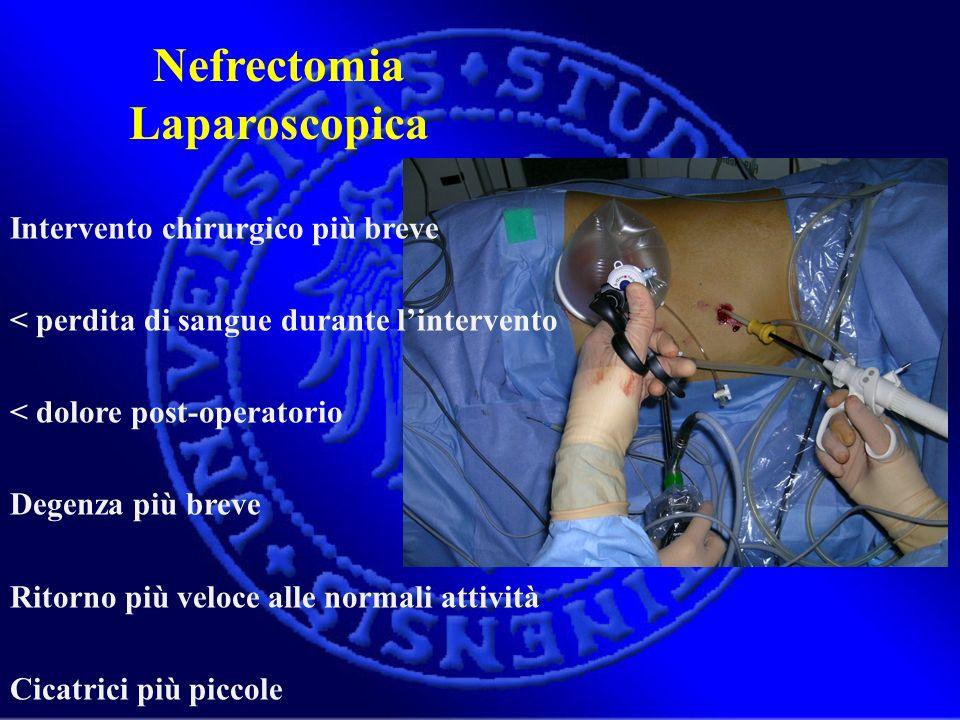 Nefrectomia Laparoscopica Intervento chirurgico più breve < perdita di sangue durante lintervento < dolore post-operatorio Degenza più breve Ritorno p