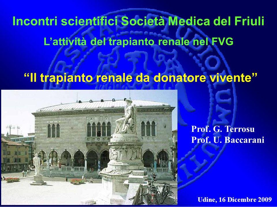 Incontri scientifici Società Medica del Friuli Lattività del trapianto renale nel FVG Udine, 16 Dicembre 2009 Il trapianto renale da donatore vivente