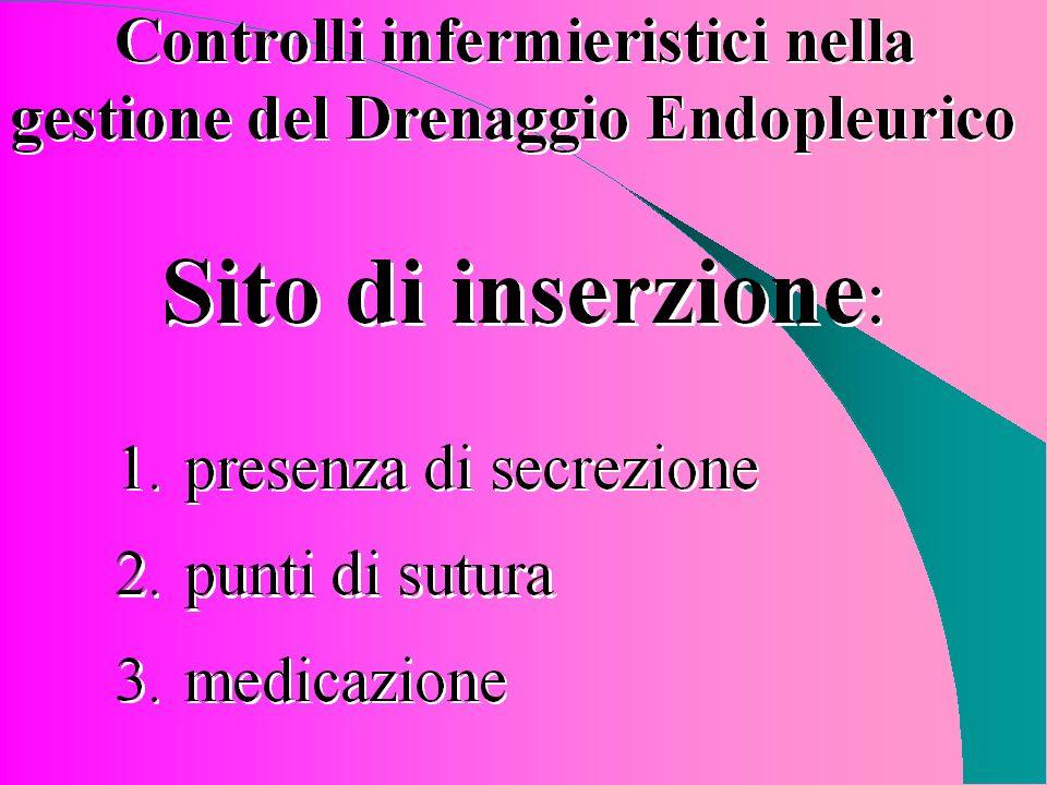 Controlli infermieristici nella gestione del Drenaggio endopleurico Sito di inserzione: -presenza di secrezione -medicazione -punti di sutura Adesso v