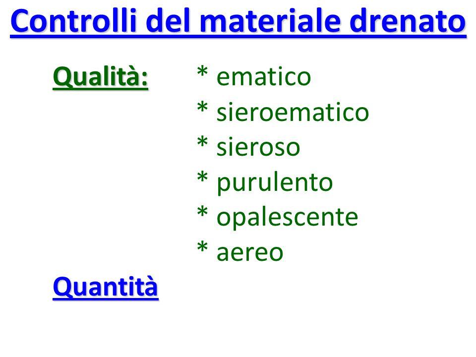 Controlli del materiale drenato Qualità: Qualità: * ematico * sieroematico * sieroso * purulento * opalescente * aereoQuantità