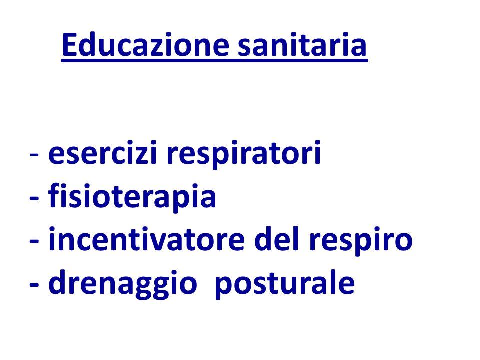 Educazione sanitaria - esercizi respiratori - fisioterapia - incentivatore del respiro - drenaggio posturale
