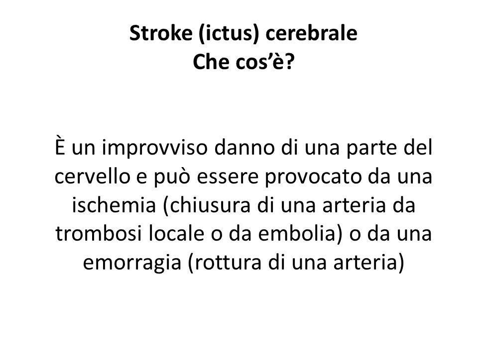 Stroke (ictus) cerebrale Che cosè? È un improvviso danno di una parte del cervello e può essere provocato da una ischemia (chiusura di una arteria da