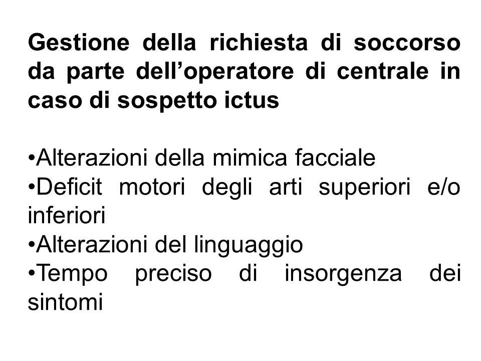 Gestione della richiesta di soccorso da parte delloperatore di centrale in caso di sospetto ictus Alterazioni della mimica facciale Deficit motori deg