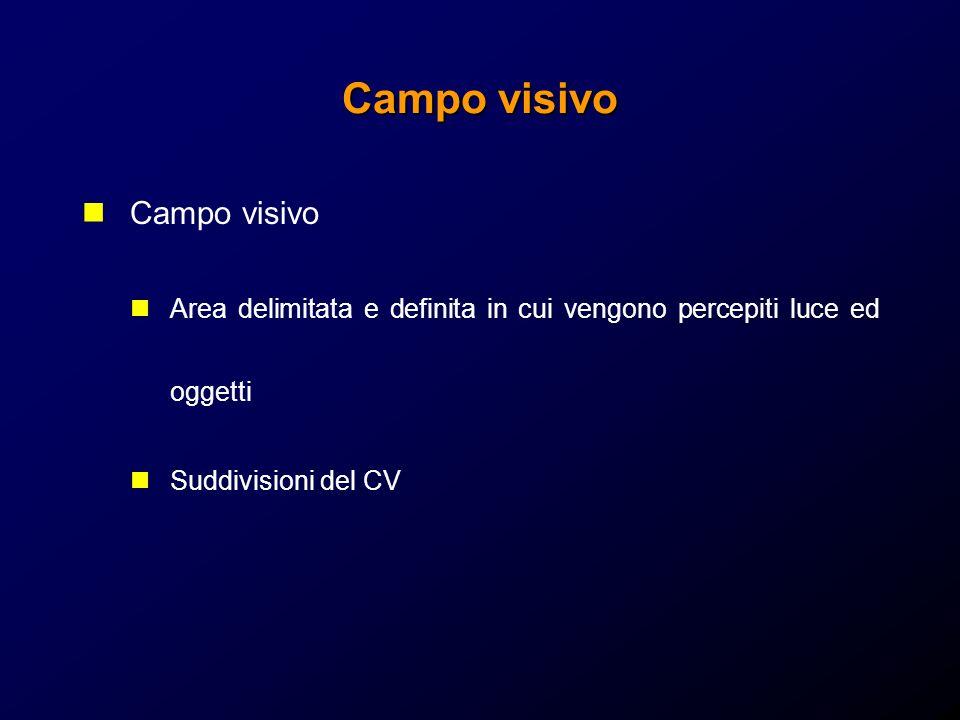 Campo visivo Area delimitata e definita in cui vengono percepiti luce ed oggetti Suddivisioni del CV