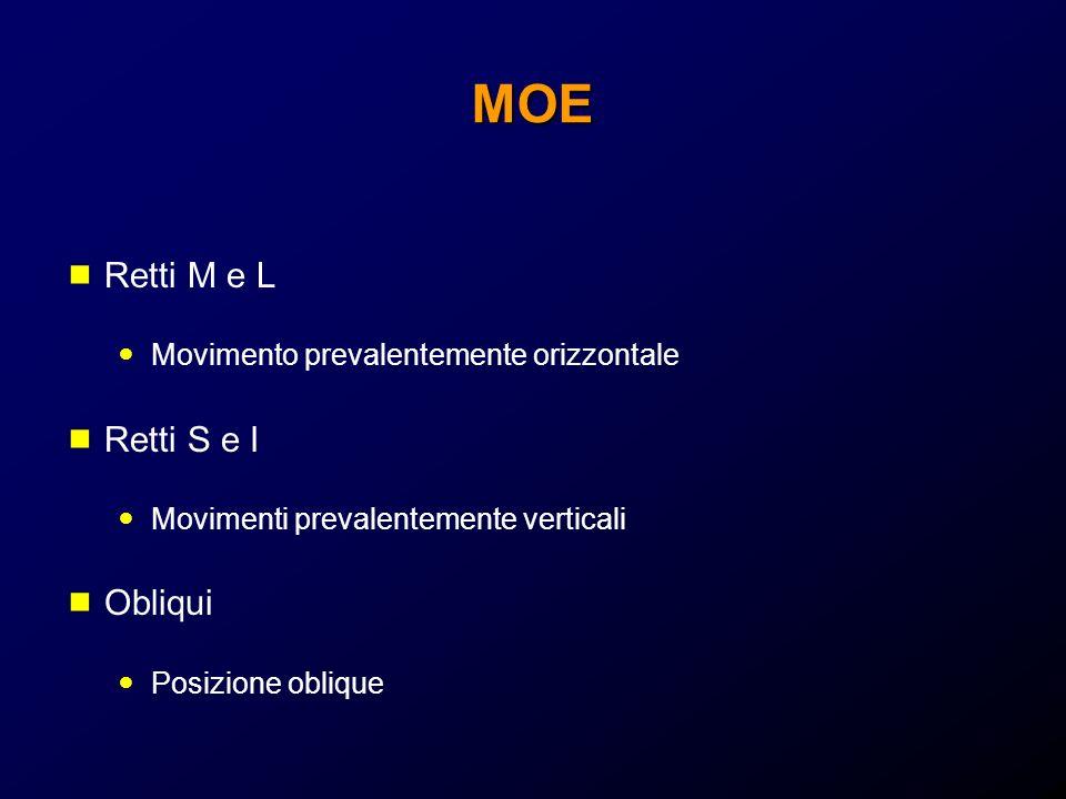 MOE Retti M e L Movimento prevalentemente orizzontale Retti S e I Movimenti prevalentemente verticali Obliqui Posizione oblique