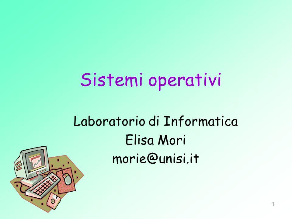 Laboratorio di Informatica – Reti di calcolatori 2 intermediario Il Sistema Operativo opera come intermediario tra lhardware del sistema e uno o più utenti.