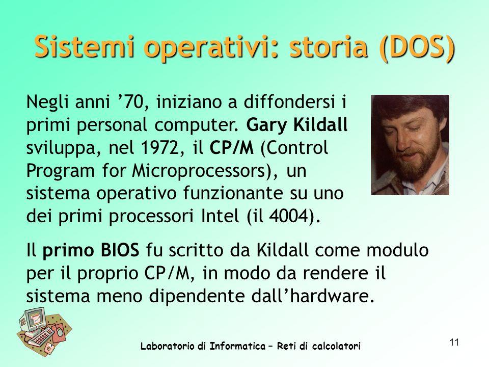 Laboratorio di Informatica – Reti di calcolatori 11 Negli anni 70, iniziano a diffondersi i primi personal computer. Gary Kildall sviluppa, nel 1972,
