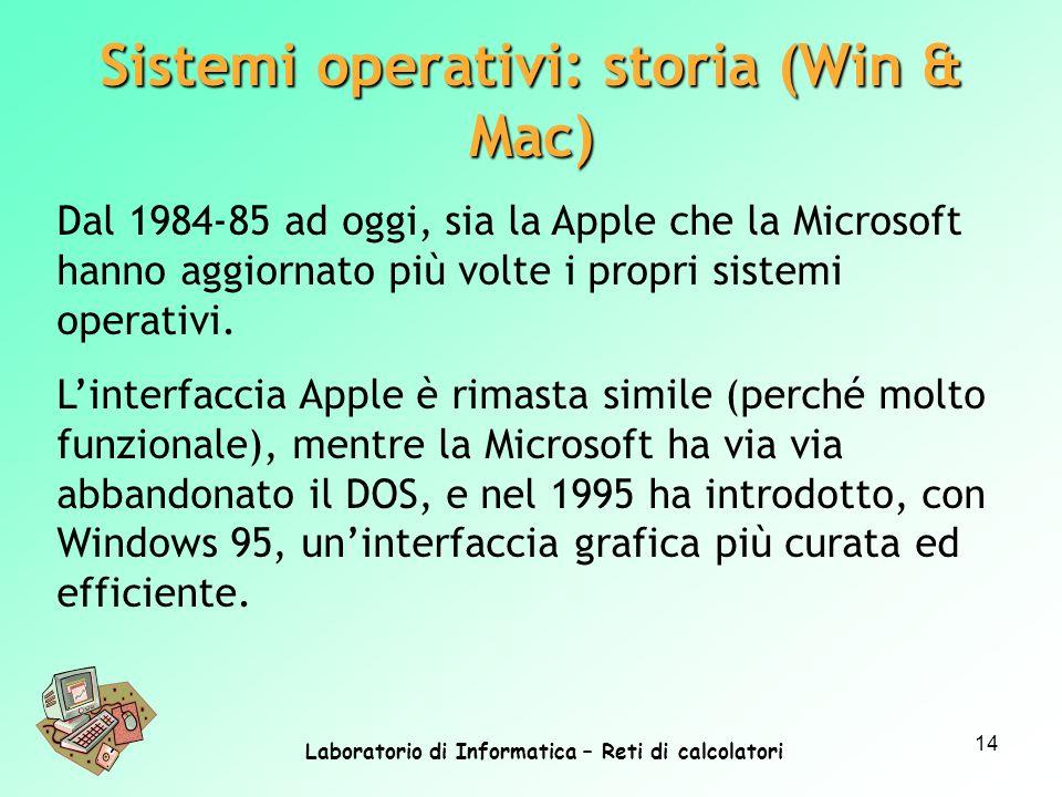 Laboratorio di Informatica – Reti di calcolatori 14 Dal 1984-85 ad oggi, sia la Apple che la Microsoft hanno aggiornato più volte i propri sistemi ope
