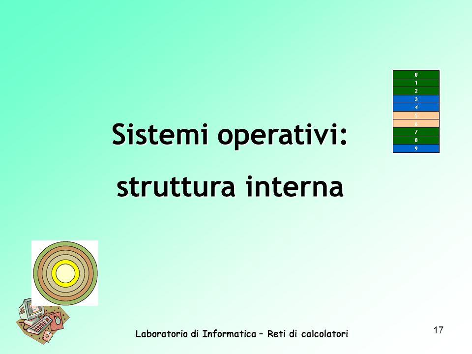 Laboratorio di Informatica – Reti di calcolatori 17 Sistemi operativi: struttura interna