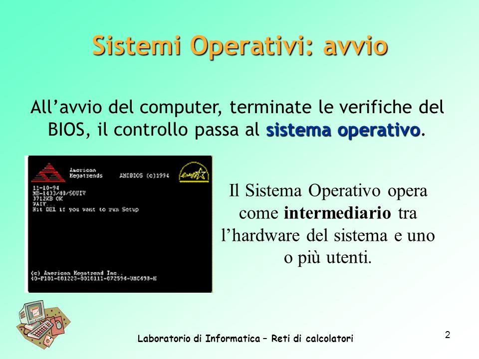 Laboratorio di Informatica – Reti di calcolatori 2 intermediario Il Sistema Operativo opera come intermediario tra lhardware del sistema e uno o più u