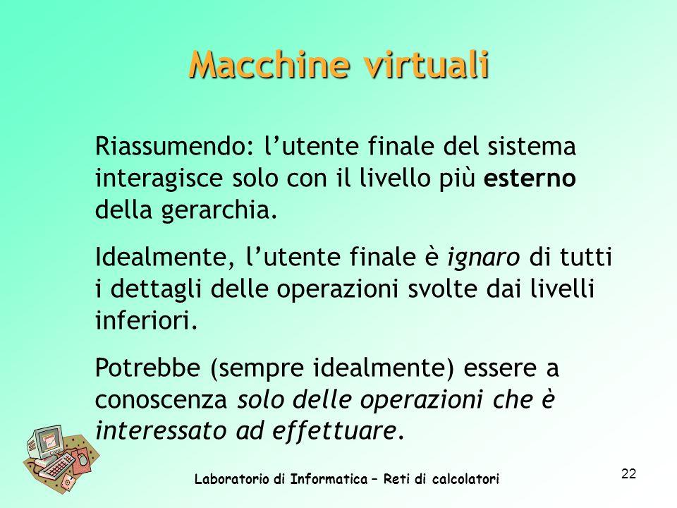Laboratorio di Informatica – Reti di calcolatori 22 Macchine virtuali Riassumendo: lutente finale del sistema interagisce solo con il livello più este