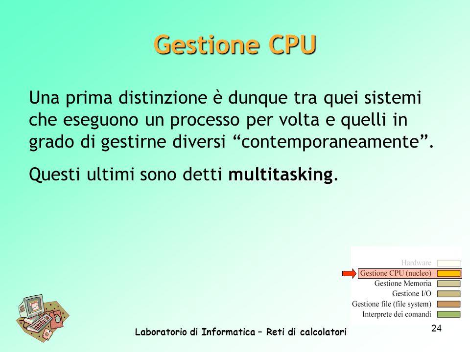 Laboratorio di Informatica – Reti di calcolatori 24 Una prima distinzione è dunque tra quei sistemi che eseguono un processo per volta e quelli in gra