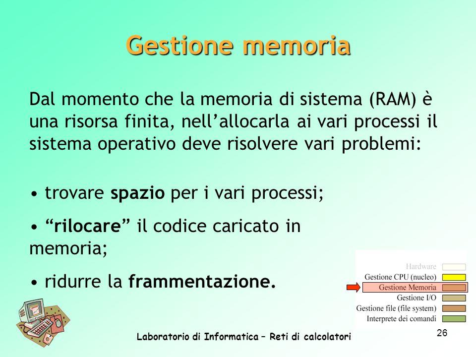 Laboratorio di Informatica – Reti di calcolatori 26 Dal momento che la memoria di sistema (RAM) è una risorsa finita, nellallocarla ai vari processi i