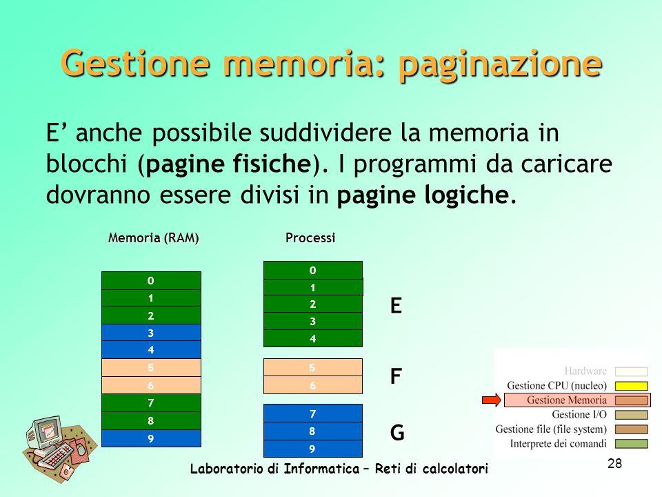 Laboratorio di Informatica – Reti di calcolatori 28 Gestione memoria: paginazione E anche possibile suddividere la memoria in blocchi (pagine fisiche)