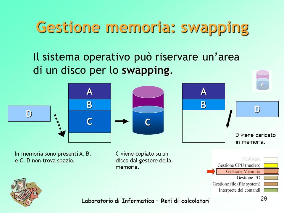 Laboratorio di Informatica – Reti di calcolatori 29 Gestione memoria: swapping In memoria sono presenti A, B, e C. D non trova spazio. swapping Il sis