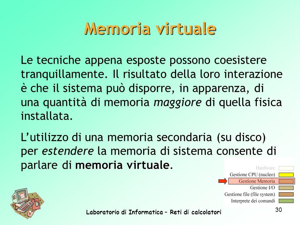 Laboratorio di Informatica – Reti di calcolatori 30 Memoria virtuale Le tecniche appena esposte possono coesistere tranquillamente. Il risultato della