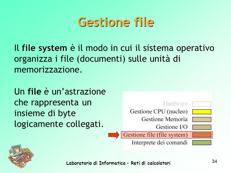 Laboratorio di Informatica – Reti di calcolatori 34 file system Il file system è il modo in cui il sistema operativo organizza i file (documenti) sull