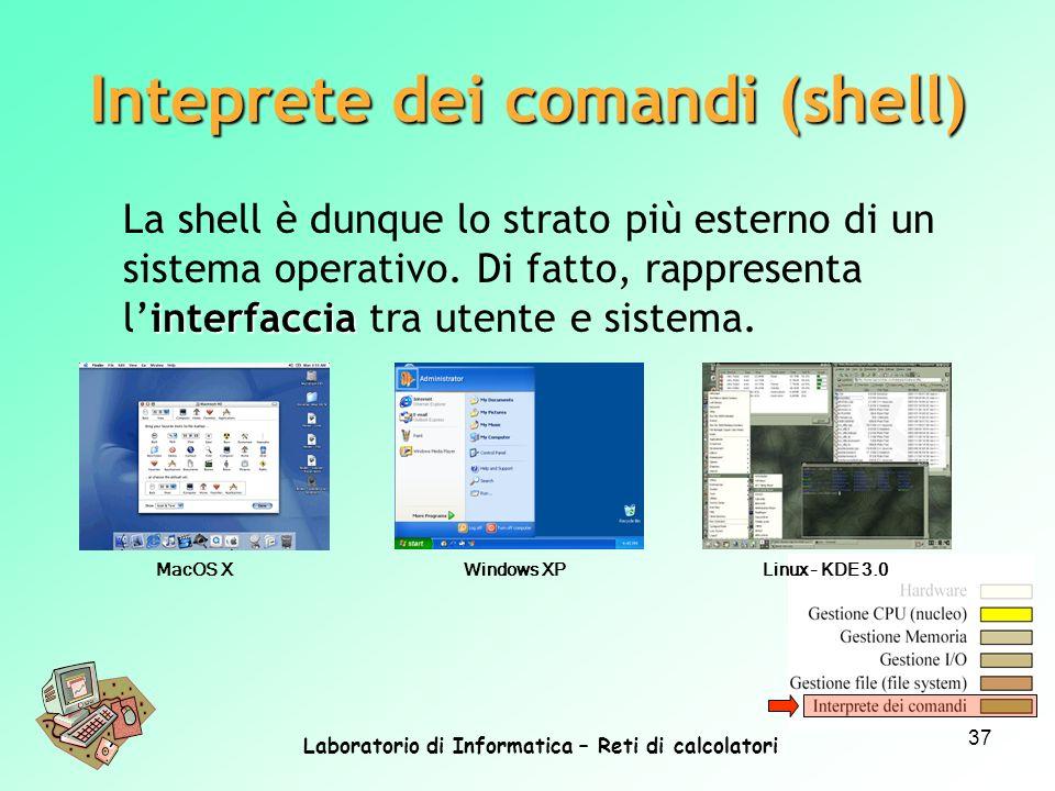 Laboratorio di Informatica – Reti di calcolatori 37 interfaccia La shell è dunque lo strato più esterno di un sistema operativo. Di fatto, rappresenta