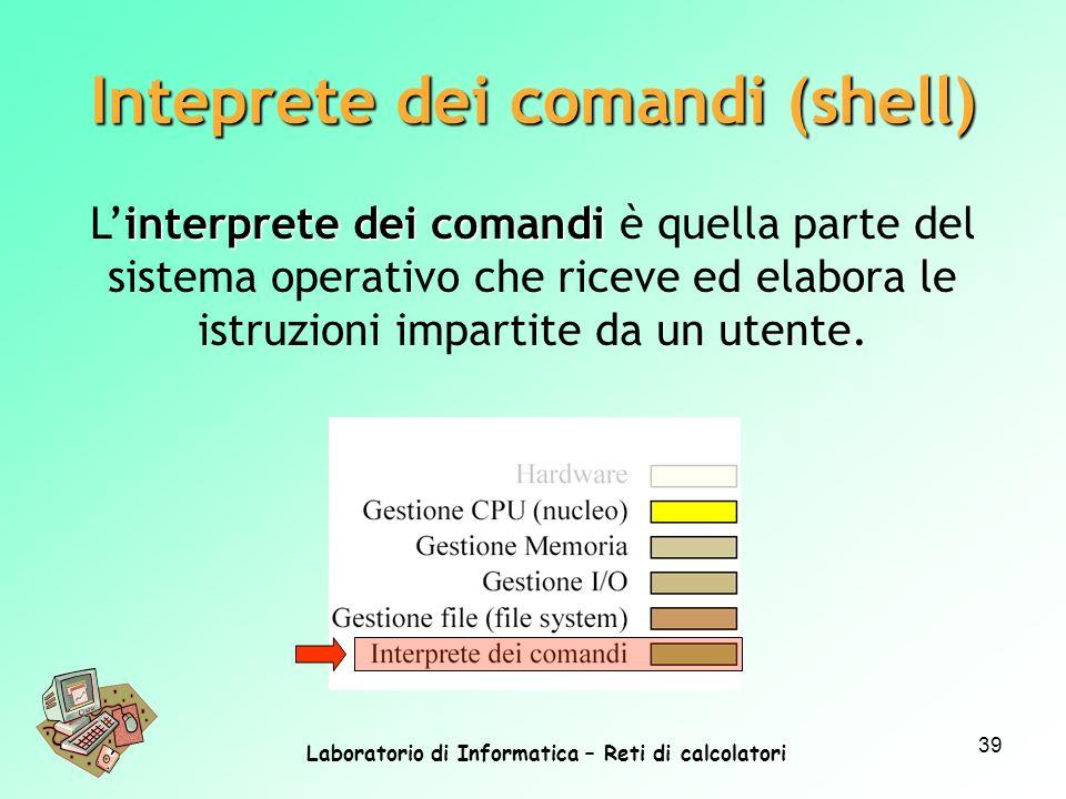 Laboratorio di Informatica – Reti di calcolatori 39 interprete dei comandi Linterprete dei comandi è quella parte del sistema operativo che riceve ed