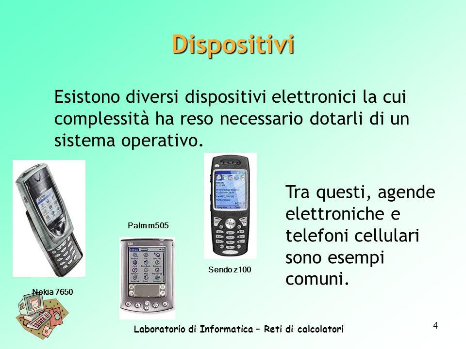 Laboratorio di Informatica – Reti di calcolatori 4 Esistono diversi dispositivi elettronici la cui complessità ha reso necessario dotarli di un sistem