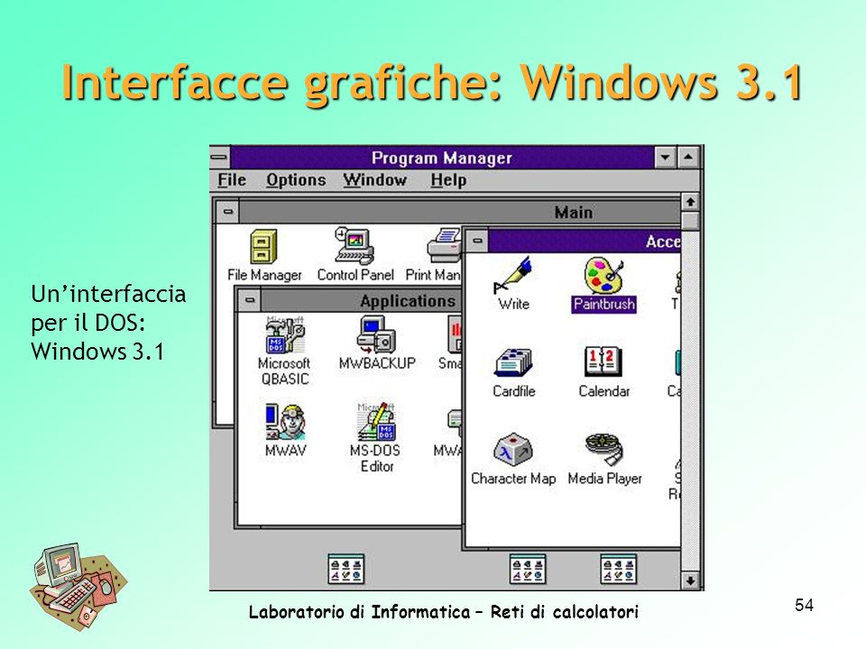 Laboratorio di Informatica – Reti di calcolatori 54 Uninterfaccia per il DOS: Windows 3.1 Interfacce grafiche: Windows 3.1