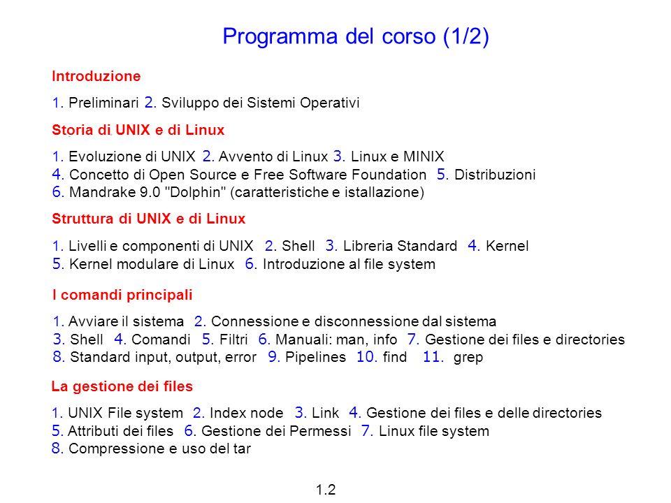 1.2 Introduzione 1. Preliminari 2. Sviluppo dei Sistemi Operativi Storia di UNIX e di Linux 1.