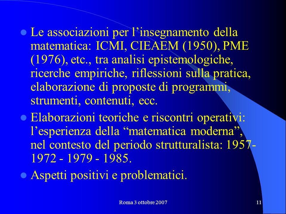Roma 3 ottobre 200711 Le associazioni per linsegnamento della matematica: ICMI, CIEAEM (1950), PME (1976), etc., tra analisi epistemologiche, ricerche empiriche, riflessioni sulla pratica, elaborazione di proposte di programmi, strumenti, contenuti, ecc.