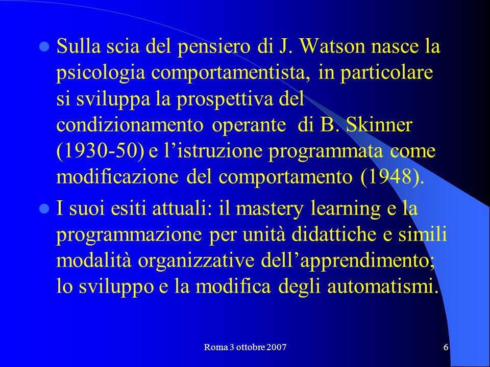 Roma 3 ottobre 20076 Sulla scia del pensiero di J.