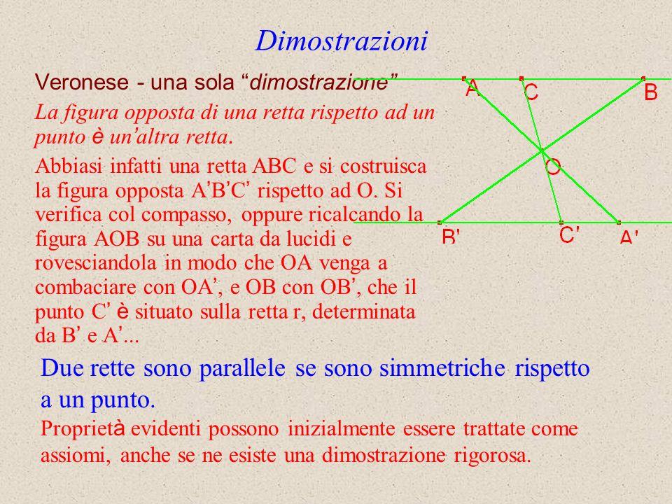 Dimostrazioni Veronese - una sola dimostrazione La figura opposta di una retta rispetto ad un punto è un altra retta. Abbiasi infatti una retta ABC e