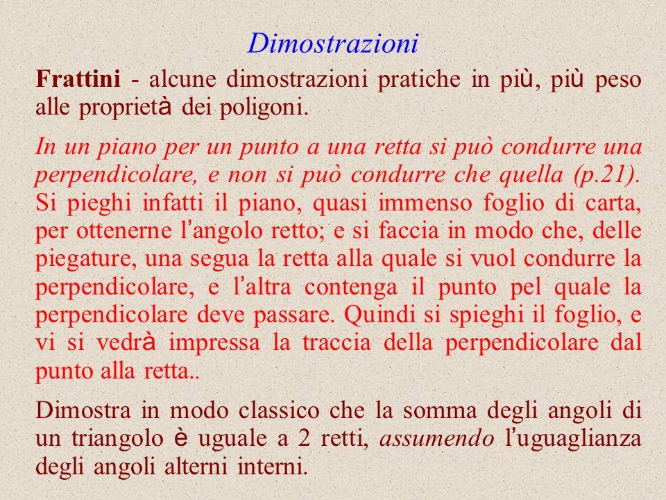 Dimostrazioni Frattini - alcune dimostrazioni pratiche in pi ù, pi ù peso alle propriet à dei poligoni. In un piano per un punto a una retta si può co